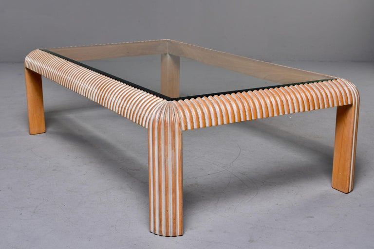 Mid Century Cerused Coffee Table with Reeded Legs and Glass Top For Sale 2