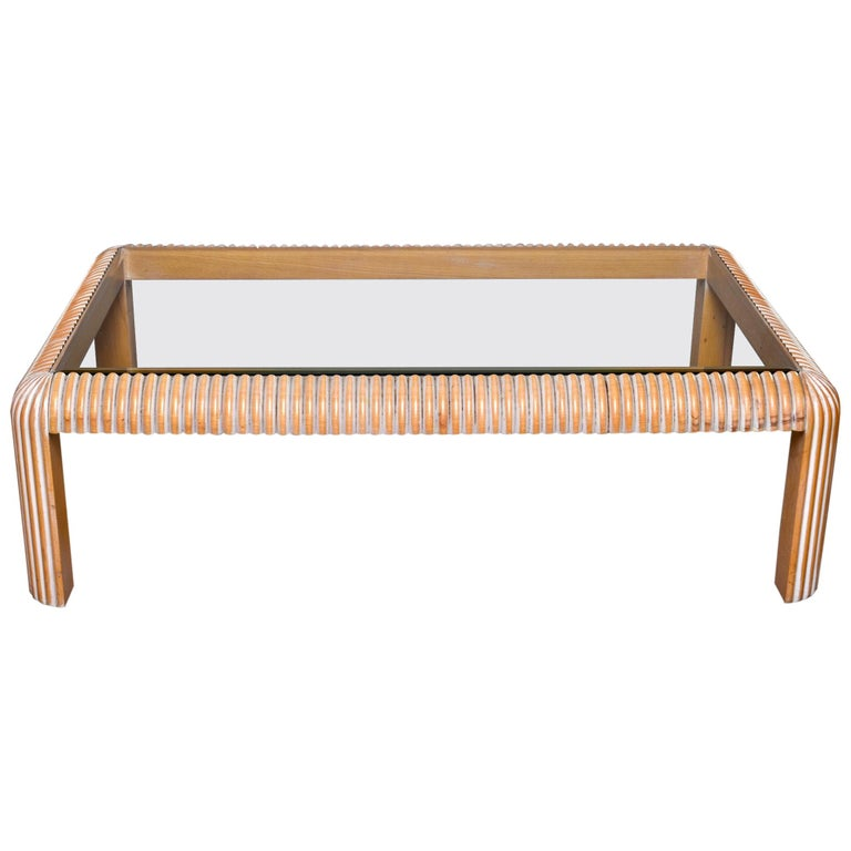 Mid Century Cerused Coffee Table with Reeded Legs and Glass Top For Sale