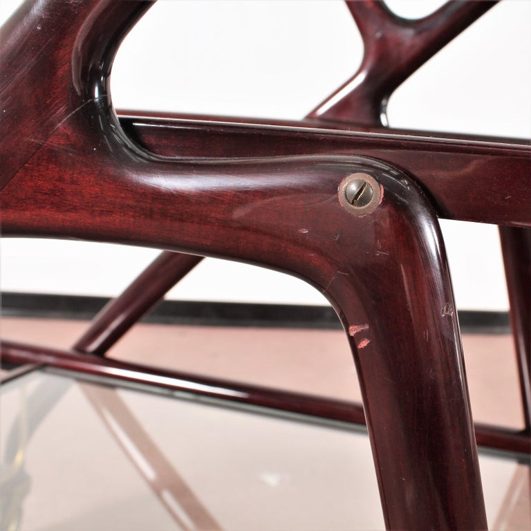 Midcentury Cesare Lacca Vintage Curved Wooden Serving Bar Cart, Italy, 1950s For Sale 4