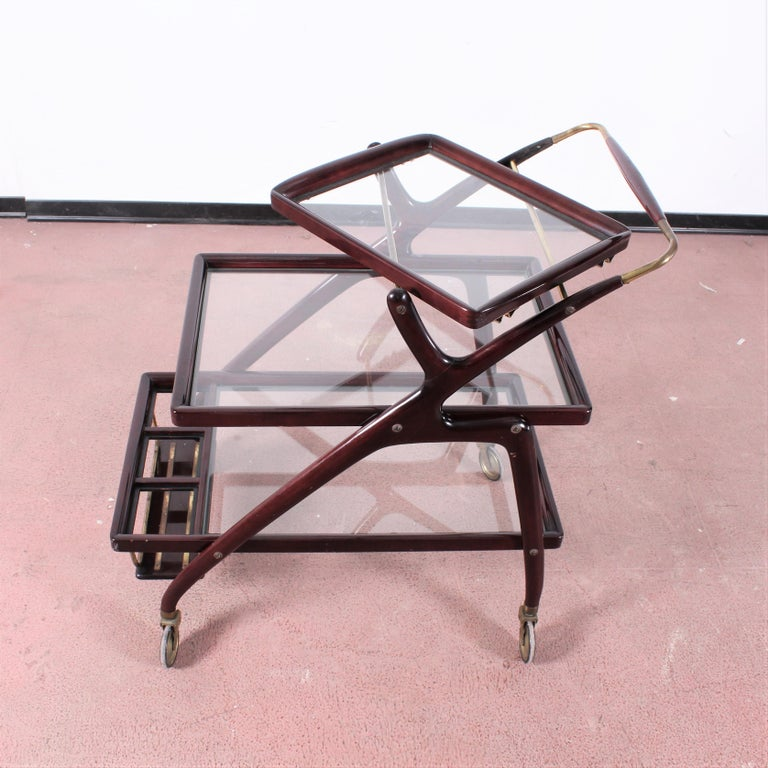 Midcentury Cesare Lacca Vintage Curved Wooden Serving Bar Cart, Italy, 1950s For Sale 7