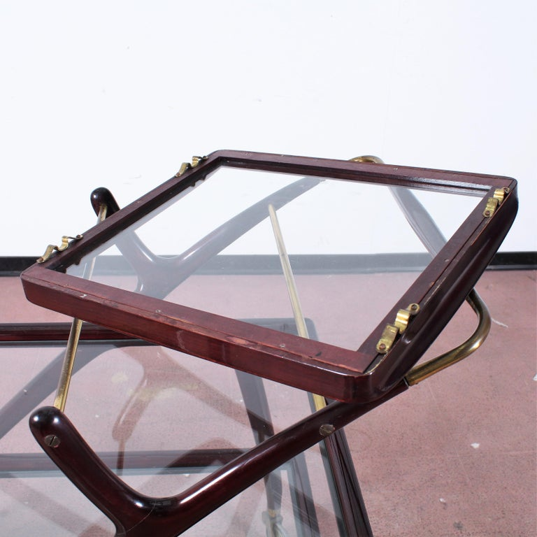 Midcentury Cesare Lacca Vintage Curved Wooden Serving Bar Cart, Italy, 1950s For Sale 8