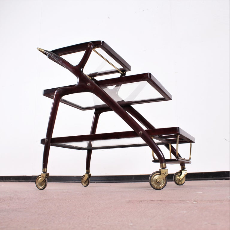 Midcentury Cesare Lacca Vintage Curved Wooden Serving Bar Cart, Italy, 1950s For Sale 13