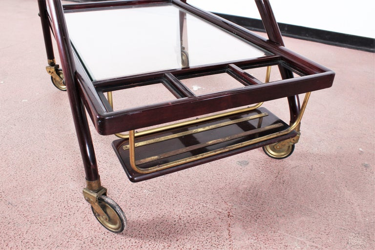 Midcentury Cesare Lacca Vintage Curved Wooden Serving Bar Cart, Italy, 1950s For Sale 14