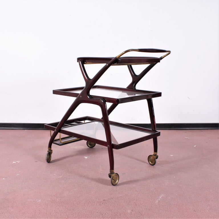 Mid-Century Modern Midcentury Cesare Lacca Vintage Curved Wooden Serving Bar Cart, Italy, 1950s For Sale