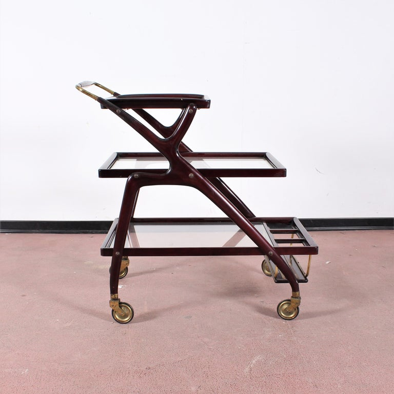Mid-20th Century Midcentury Cesare Lacca Vintage Curved Wooden Serving Bar Cart, Italy, 1950s For Sale