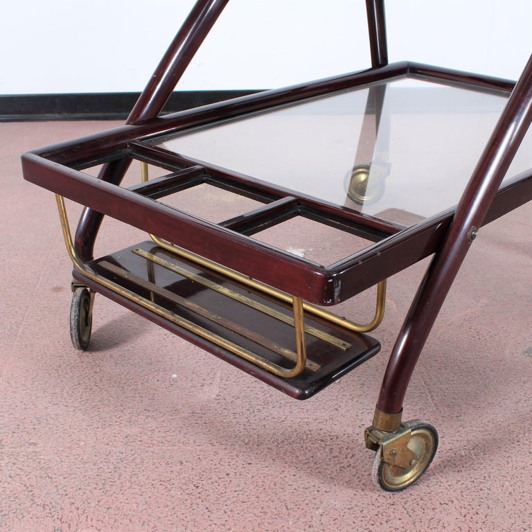 Midcentury Cesare Lacca Vintage Curved Wooden Serving Bar Cart, Italy, 1950s For Sale 3