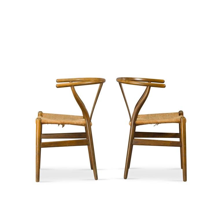 Danish Midcentury CH24 Wishbone Chairs by Hans J. Wegner for Carl Hansen & Søn Made in For Sale