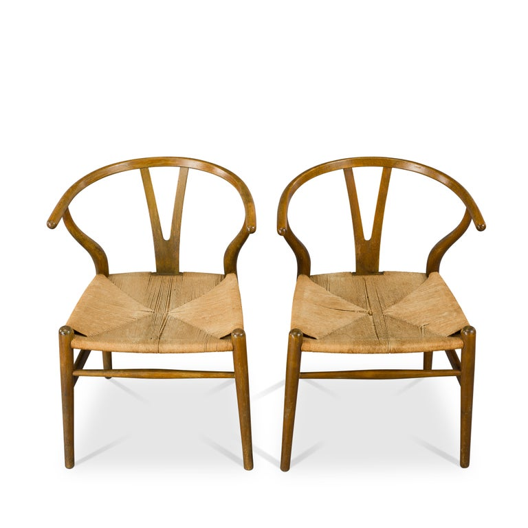 Leather Midcentury CH24 Wishbone Chairs by Hans J. Wegner for Carl Hansen & Søn Made in For Sale