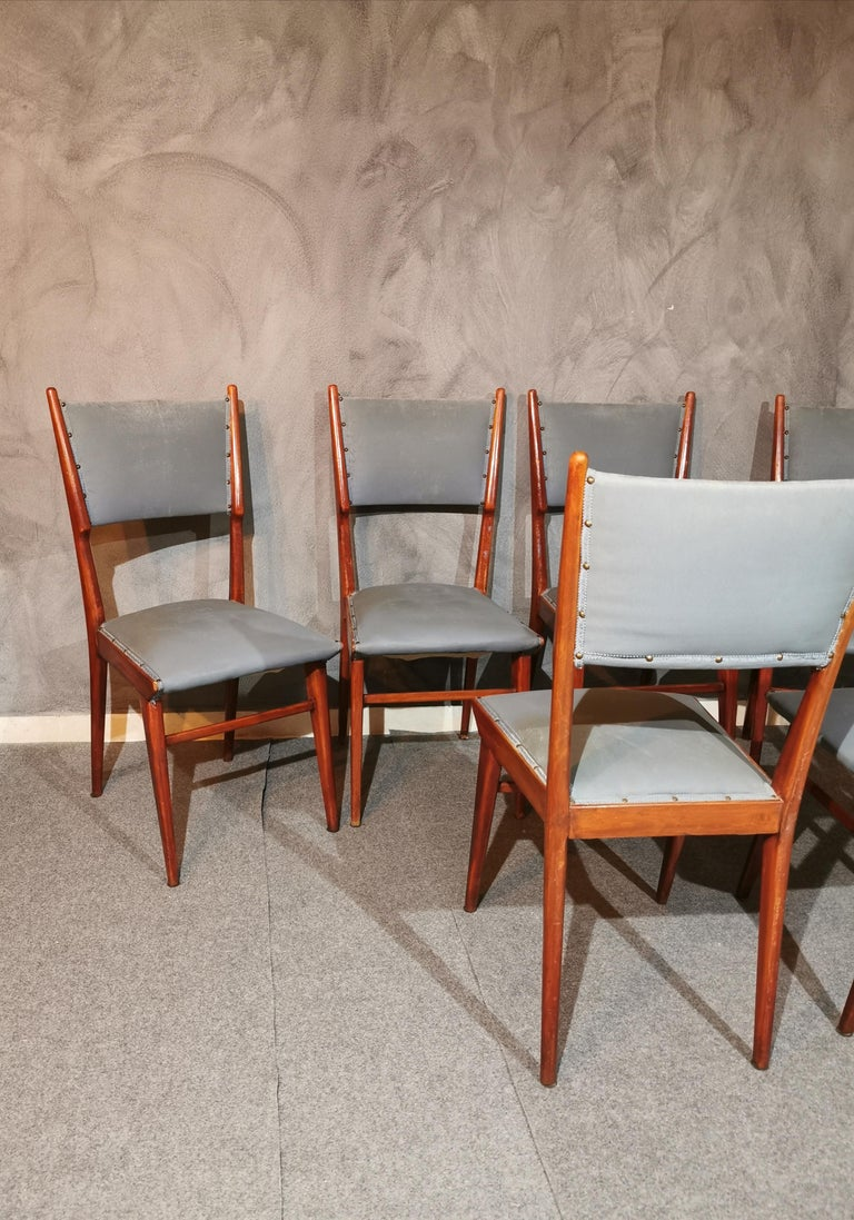 Midcentury Chairs by Carlo de Carli Leather Wood Italy 1960s Set of 6 For Sale 4
