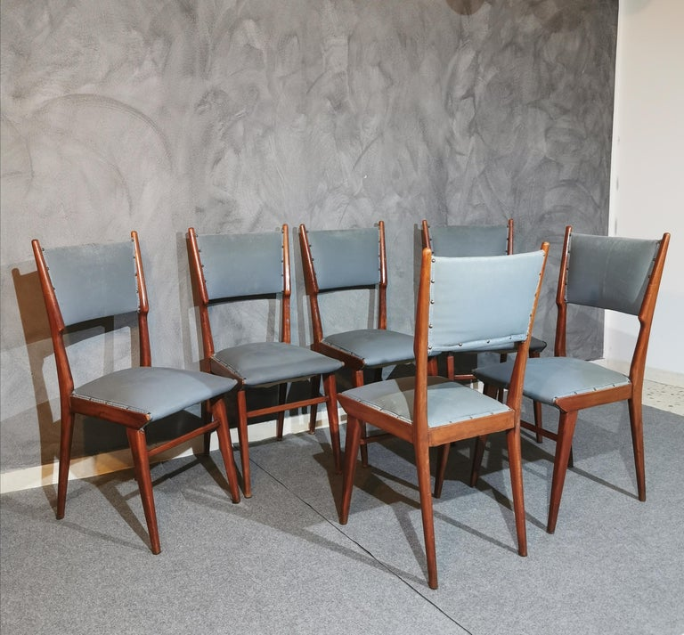 Midcentury Chairs by Carlo de Carli Leather Wood Italy 1960s Set of 6 For Sale 5