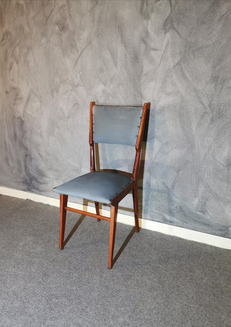Midcentury Chairs by Carlo de Carli Leather Wood Italy 1960s Set of 6 For Sale 6