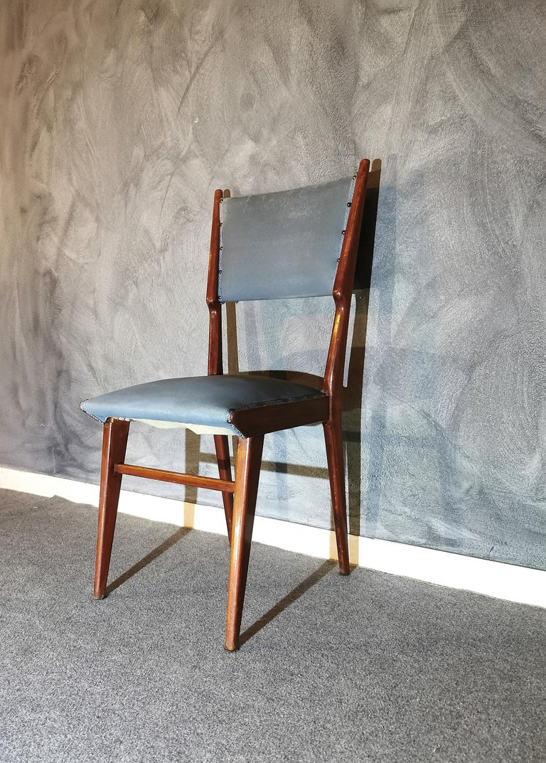 Midcentury Chairs by Carlo de Carli Leather Wood Italy 1960s Set of 6 For Sale 7