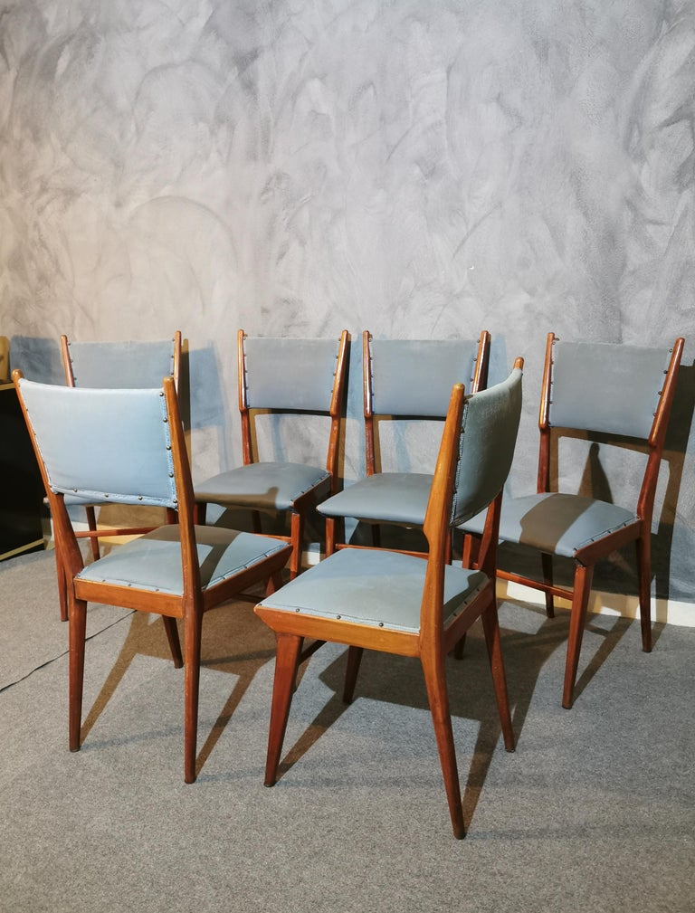 Midcentury Chairs by Carlo de Carli Leather Wood Italy 1960s Set of 6 For Sale 9