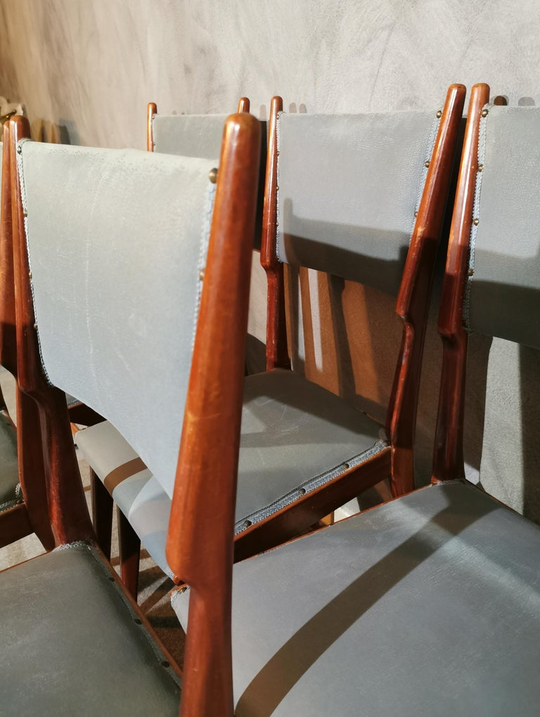 Midcentury Chairs by Carlo de Carli Leather Wood Italy 1960s Set of 6 For Sale 10