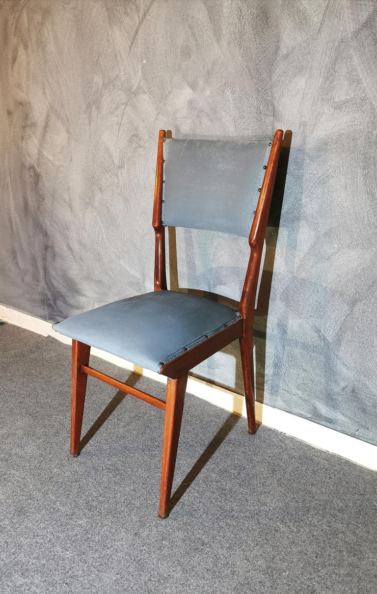 Mid-Century Modern Midcentury Chairs by Carlo de Carli Leather Wood Italy 1960s Set of 6 For Sale