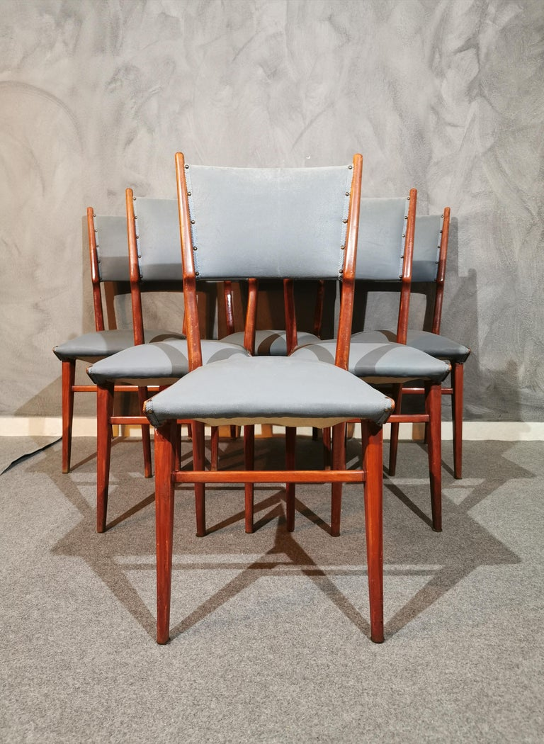 Italian Midcentury Chairs by Carlo de Carli Leather Wood Italy 1960s Set of 6 For Sale