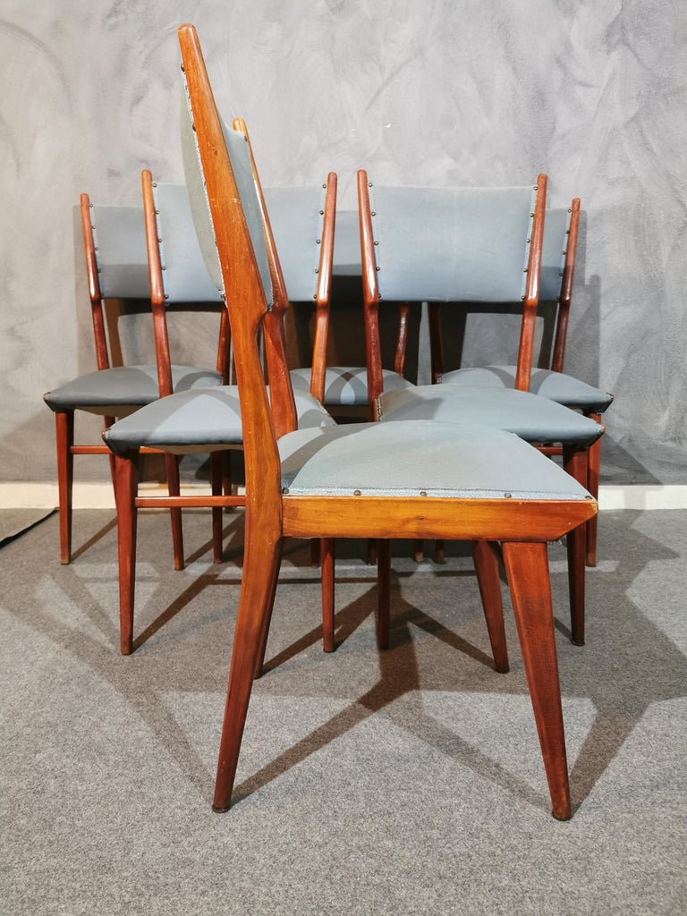 Midcentury Chairs by Carlo de Carli Leather Wood Italy 1960s Set of 6 In Good Condition For Sale In Palermo, IT