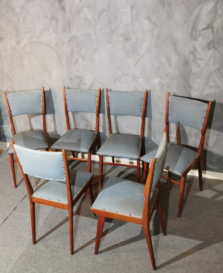 Mid-20th Century Midcentury Chairs by Carlo de Carli Leather Wood Italy 1960s Set of 6 For Sale