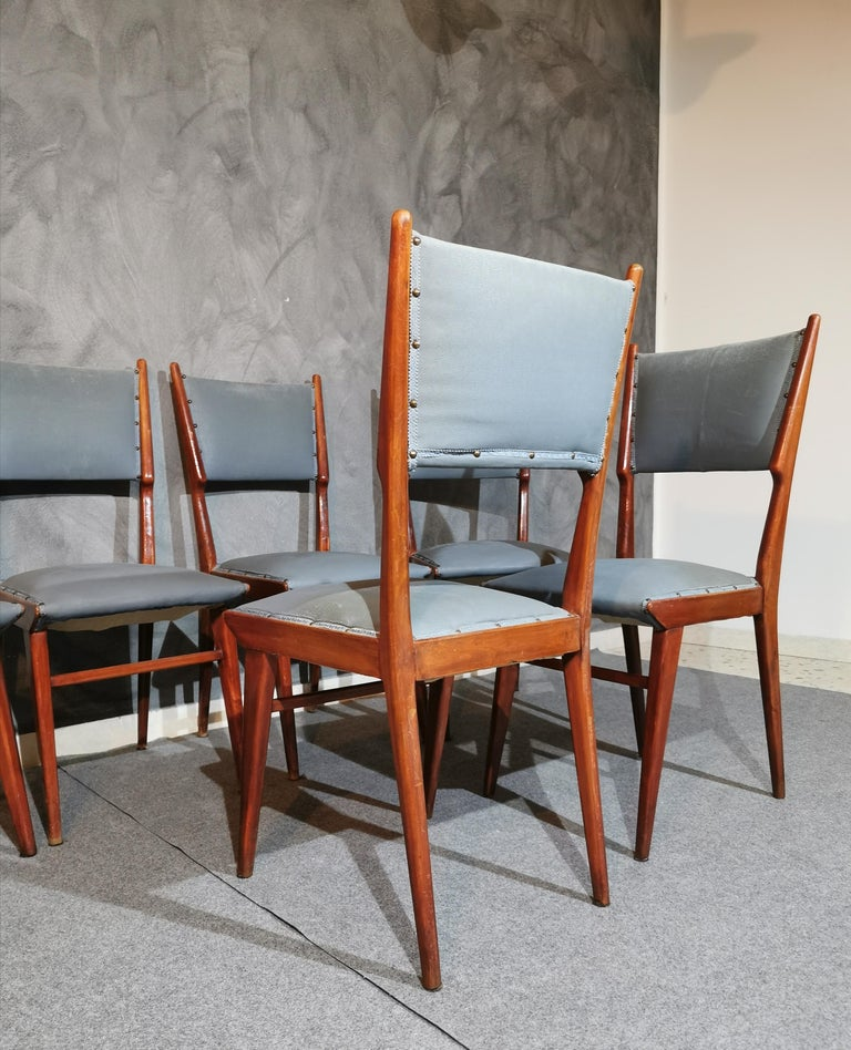 Midcentury Chairs by Carlo de Carli Leather Wood Italy 1960s Set of 6 For Sale 1