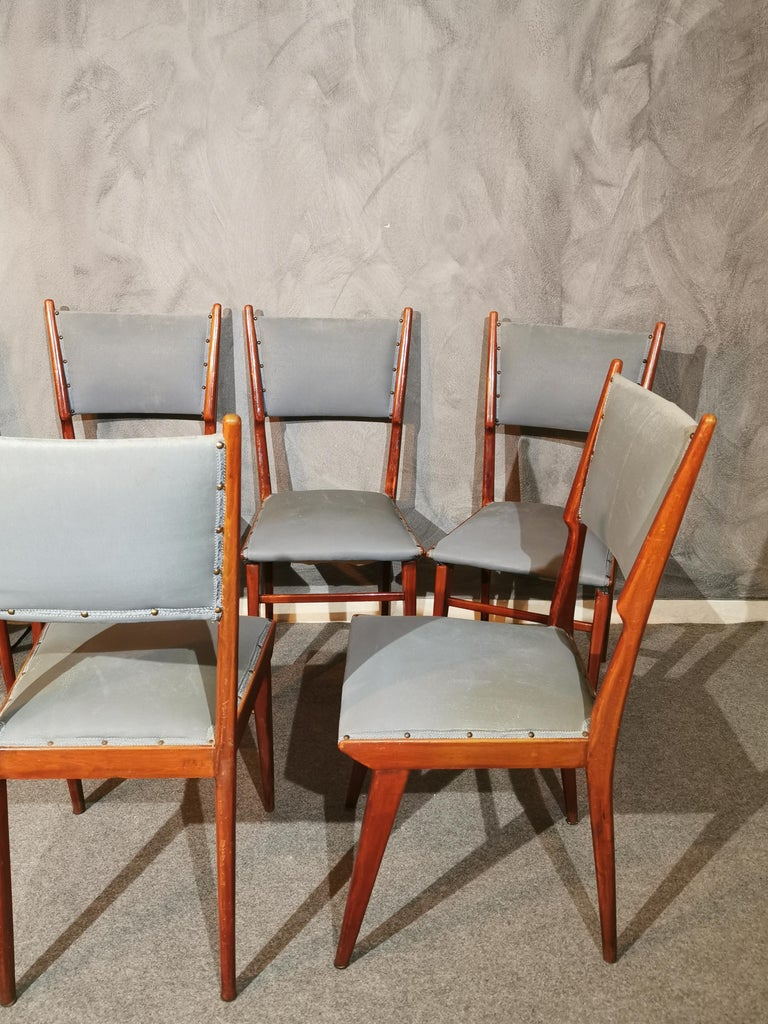 Midcentury Chairs by Carlo de Carli Leather Wood Italy 1960s Set of 6 For Sale 2