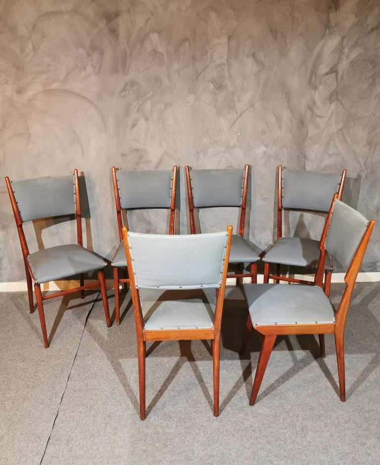 Midcentury Chairs by Carlo de Carli Leather Wood Italy 1960s Set of 6 For Sale 3