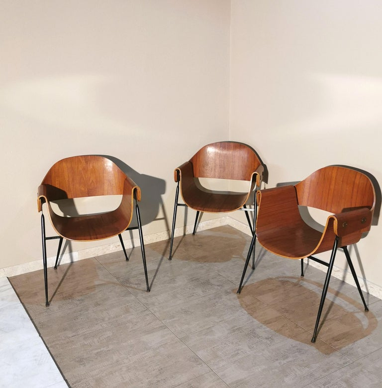Mid Century Chairs by Carlo Ratti Wood Brass Enameled Metal Italy 1950s For Sale 4