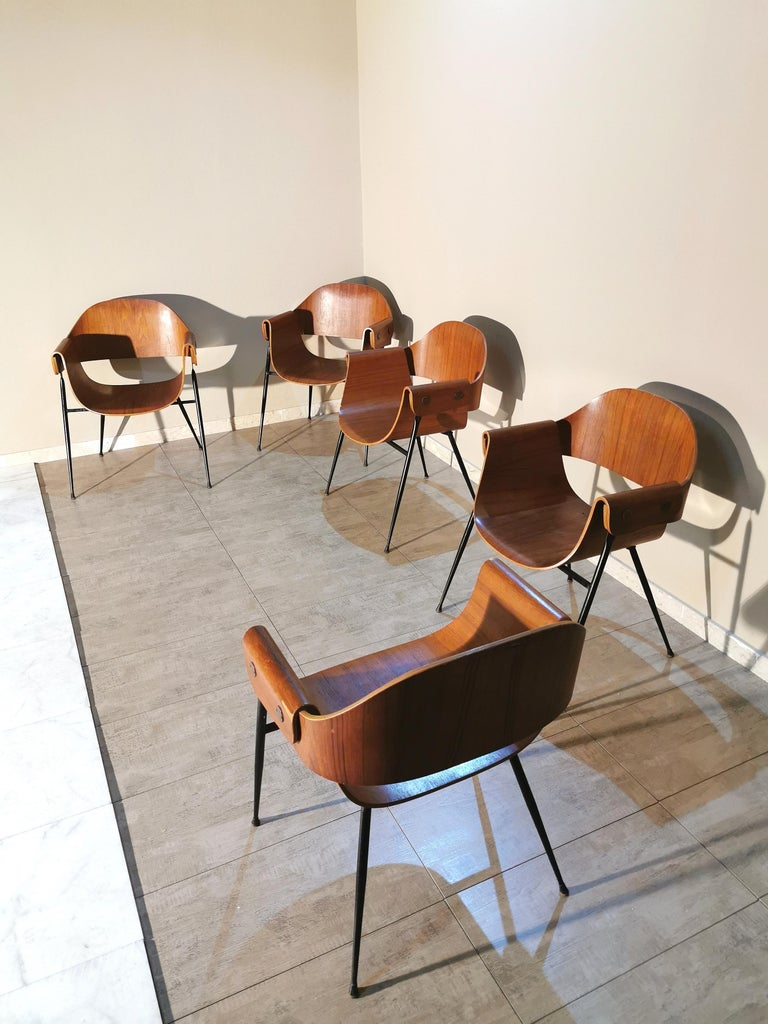 Mid Century Chairs by Carlo Ratti Wood Brass Enameled Metal Italy 1950s For Sale 5