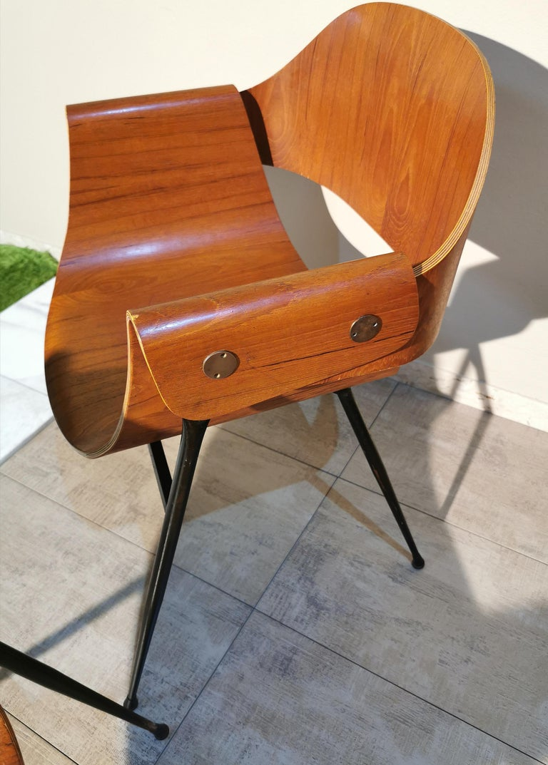 Mid Century Chairs by Carlo Ratti Wood Brass Enameled Metal Italy 1950s For Sale 6