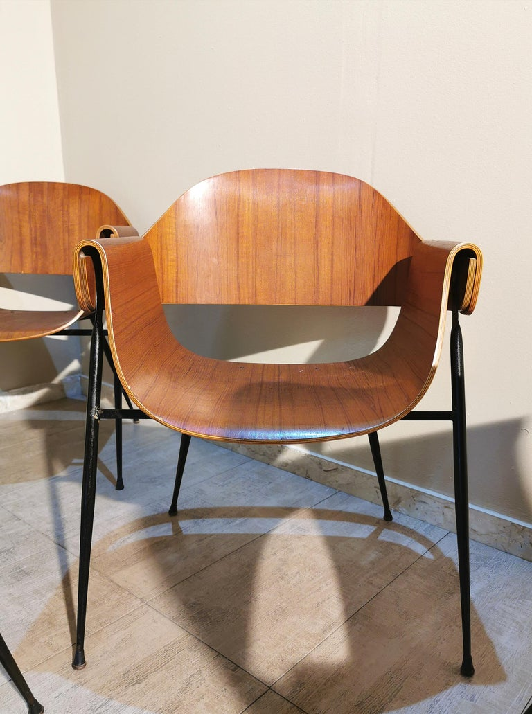 Mid Century Chairs by Carlo Ratti Wood Brass Enameled Metal Italy 1950s For Sale 7
