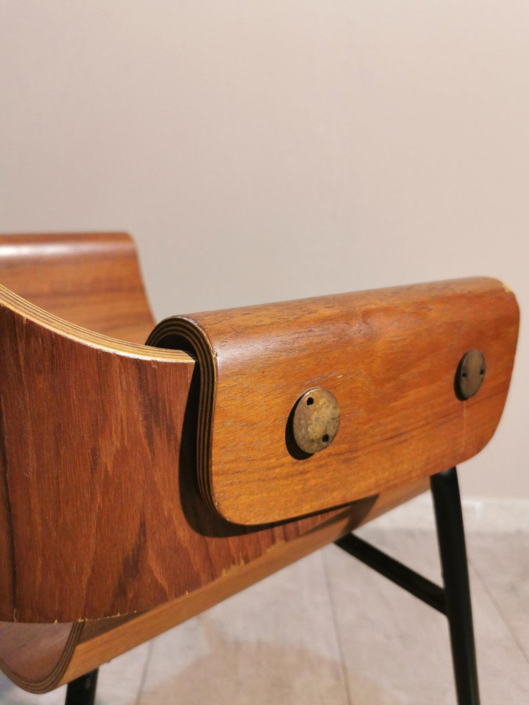 Mid Century Chairs by Carlo Ratti Wood Brass Enameled Metal Italy 1950s For Sale 9