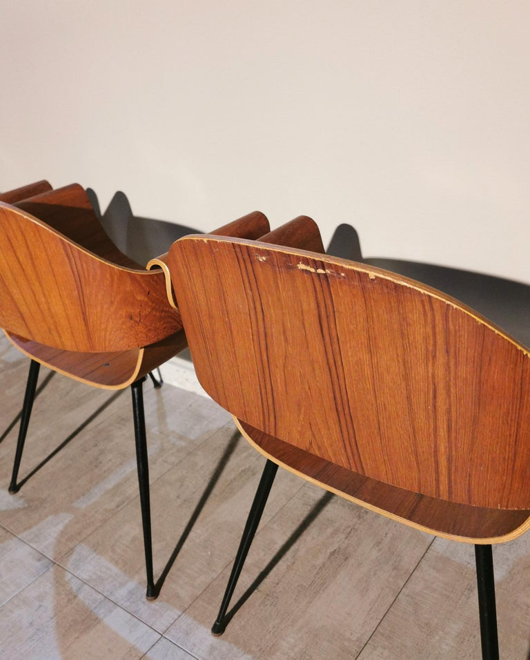 Mid Century Chairs by Carlo Ratti Wood Brass Enameled Metal Italy 1950s For Sale 10