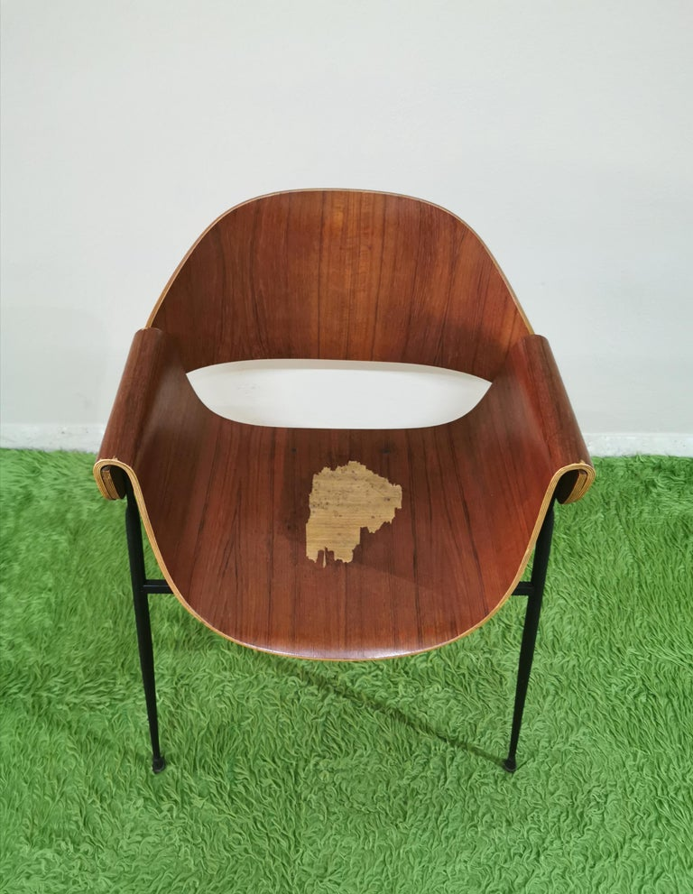 Mid Century Chairs by Carlo Ratti Wood Brass Enameled Metal Italy 1950s For Sale 12