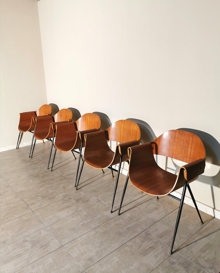 Mid-Century Modern Mid Century Chairs by Carlo Ratti Wood Brass Enameled Metal Italy 1950s For Sale