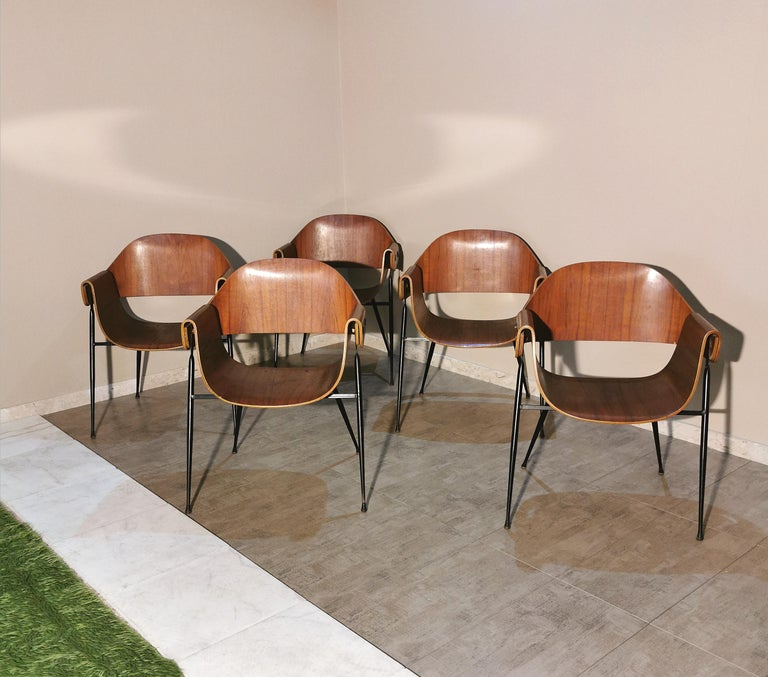 Mid Century Chairs by Carlo Ratti Wood Brass Enameled Metal Italy 1950s In Good Condition For Sale In Palermo, IT