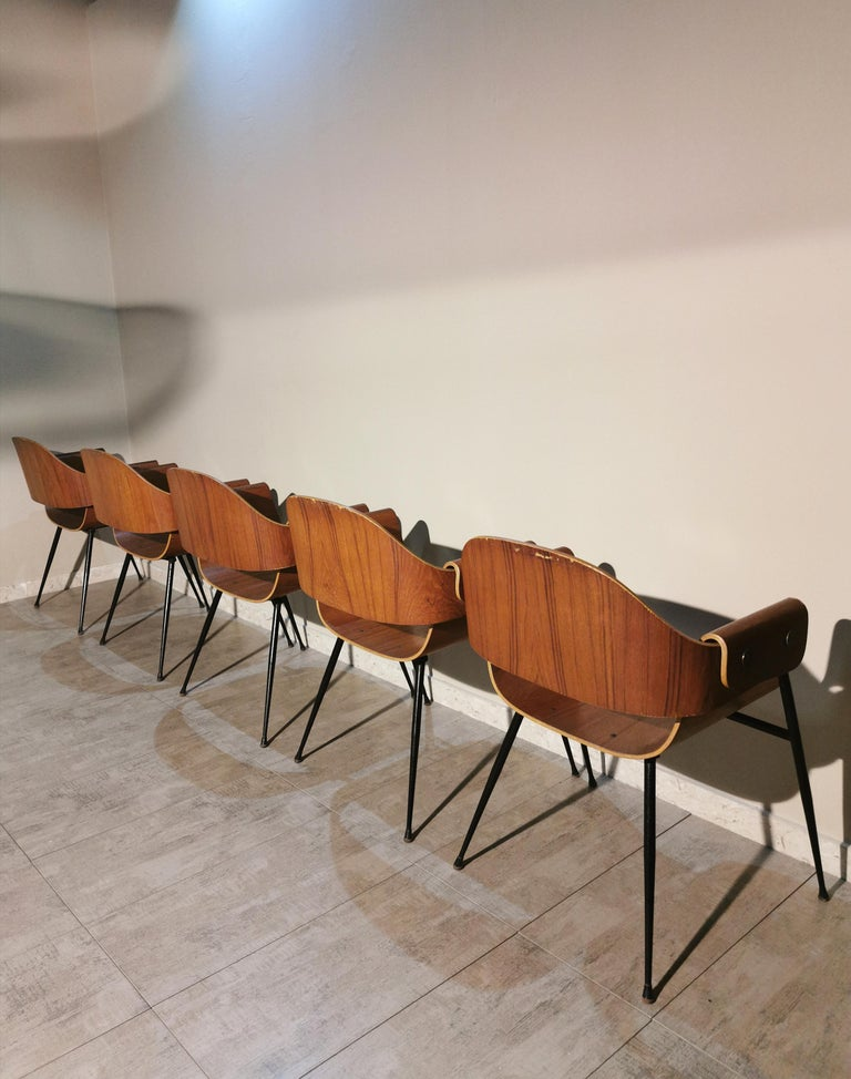 20th Century Mid Century Chairs by Carlo Ratti Wood Brass Enameled Metal Italy 1950s For Sale