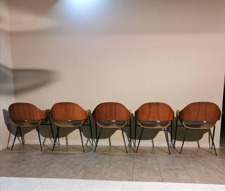 Mid Century Chairs by Carlo Ratti Wood Brass Enameled Metal Italy 1950s For Sale 1