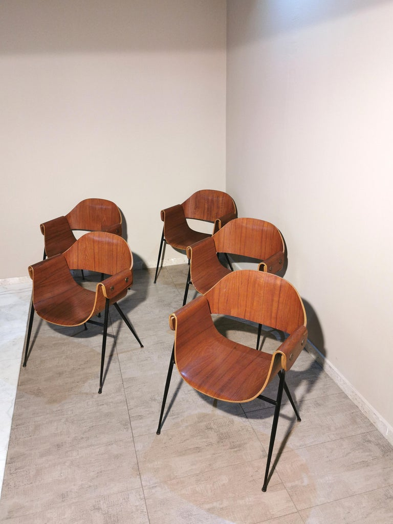 Mid Century Chairs by Carlo Ratti Wood Brass Enameled Metal Italy 1950s For Sale 2