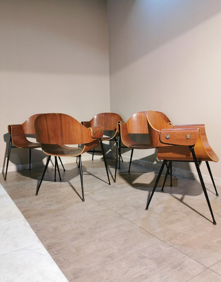 Mid Century Chairs by Carlo Ratti Wood Brass Enameled Metal Italy 1950s For Sale 3