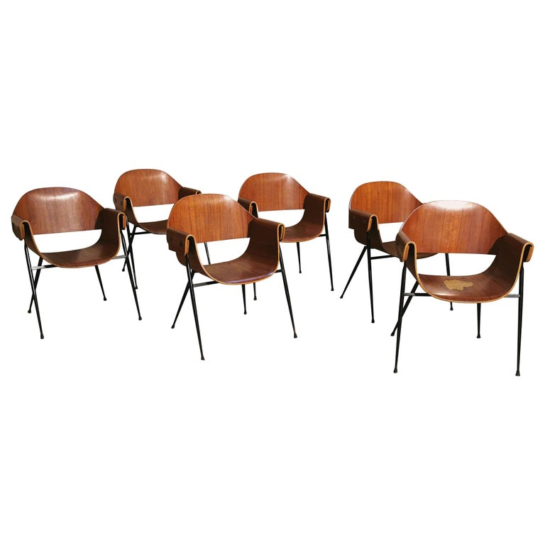 Mid Century Chairs by Carlo Ratti Wood Brass Enameled Metal Italy 1950s For Sale