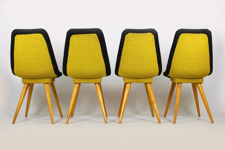 Midcentury Chairs In Grey Yellow From Drevovyroba Ostrava 1960s Set Of 4