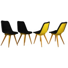 Midcentury Chairs in Grey & Yellow from Drevovyroba Ostrava, 1960s, Set of 4