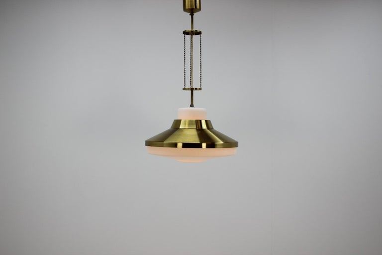 Brass Midcentury Chandelier by Napako, 1970s For Sale