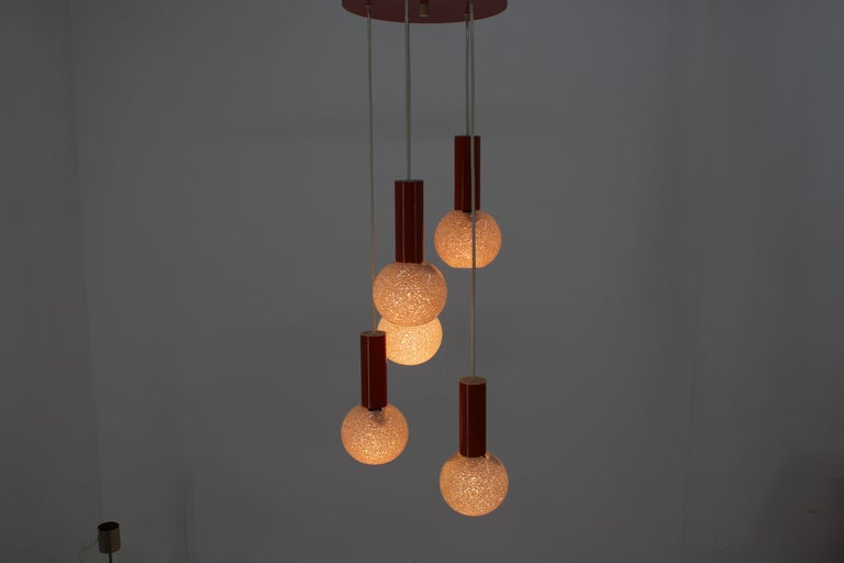 Late 20th Century Midcentury Chandelier by Pokrok Žílina, 1970s For Sale