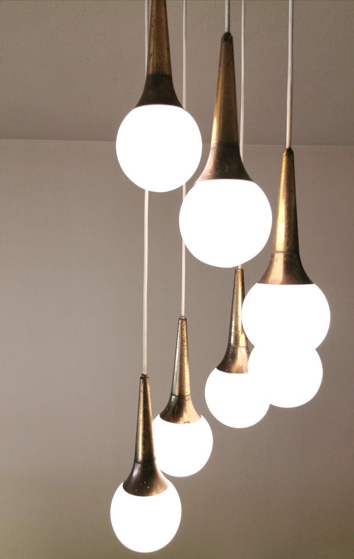 Mid Century Chandelier by Stilnovo Brass Opaline Glass Italian Design, 1950s For Sale 5