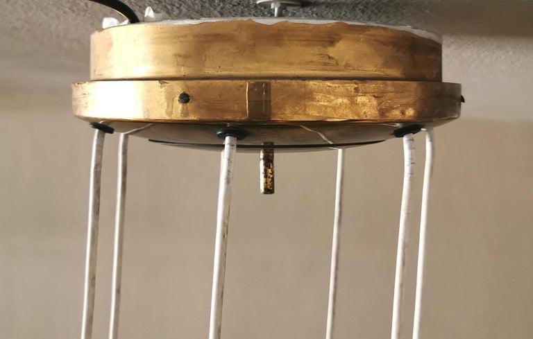 Mid Century Chandelier by Stilnovo Brass Opaline Glass Italian Design, 1950s For Sale 8