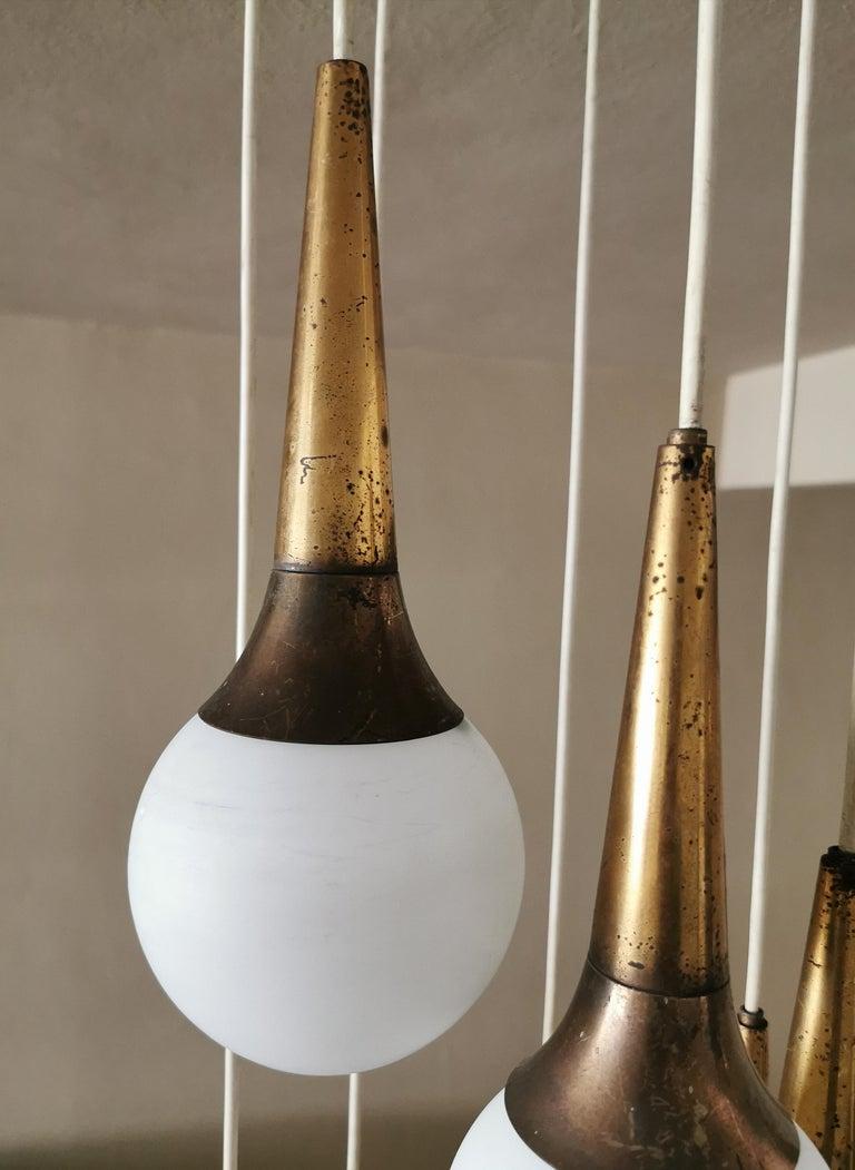 Mid Century Chandelier by Stilnovo Brass Opaline Glass Italian Design, 1950s For Sale 1