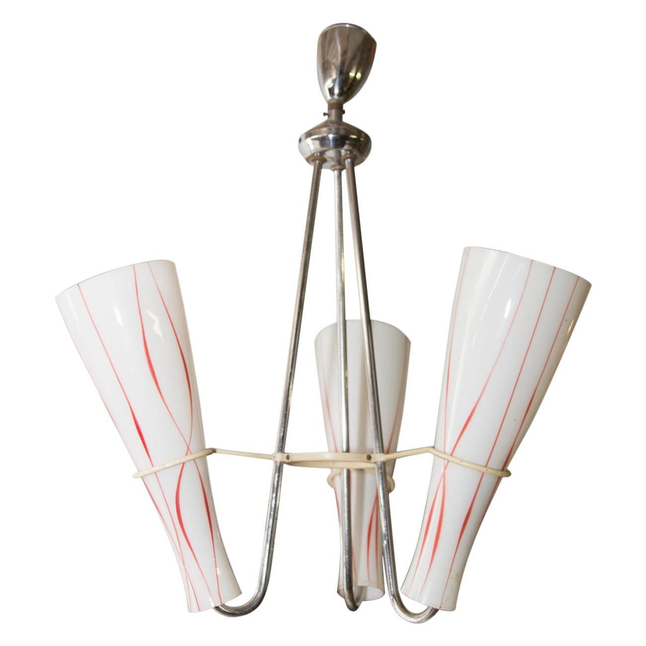 Midcentury Chandelier with Three Opaline Glass Lampshades, 1960s