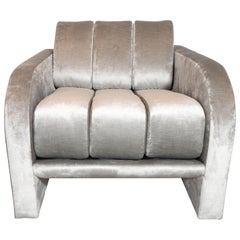 "Midcentury Channeled ""Deco"" Lounge Chair by Vladimir Kagan in Platinum Velvet"