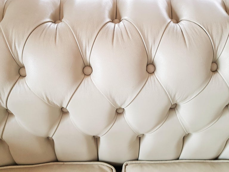 Midcentury Chesterfield Sofa Loveseat White Leather For Sale 6