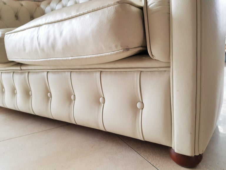 Midcentury Chesterfield Sofa Loveseat White Leather For Sale 8